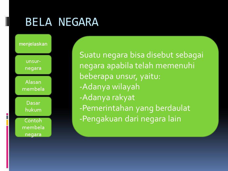 BELA NEGARA menjelaskan Contoh membela negara unsur- negara Alasan membela Dasar hukum Setiap warga negara wajib membela dan mempertahankan negaranya, karena negara telah melindungi segenap bangsa dan seluruh tumpah darah Indonesia, warga negara bertempat tinggal, hidup, dan beraktivitas di Indonesia.