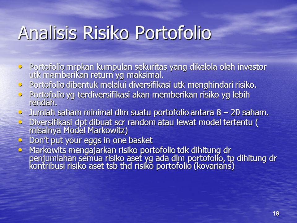 19 Analisis Risiko Portofolio Portofolio mrpkan kumpulan sekuritas yang dikelola oleh investor utk memberikan return yg maksimal. Portofolio mrpkan ku