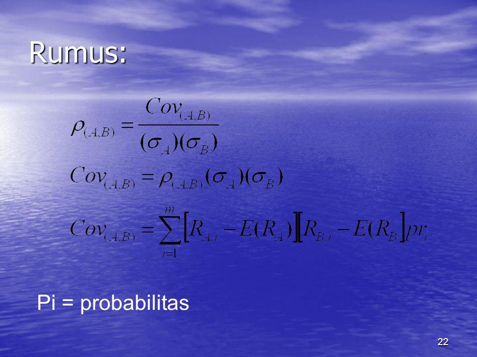 22 Rumus: Pi = probabilitas