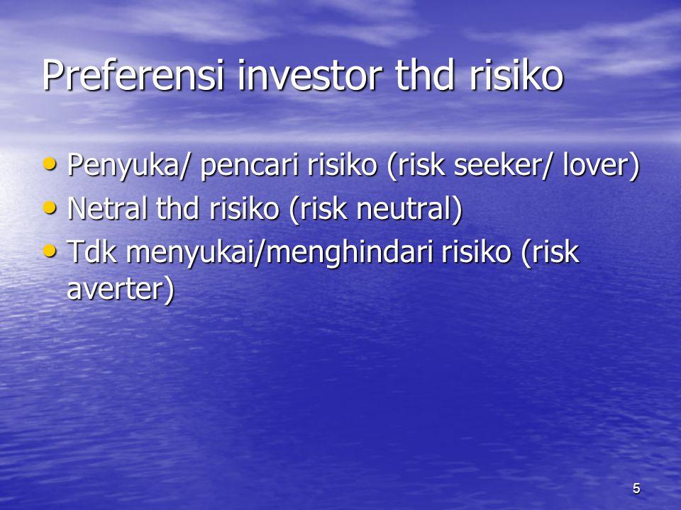 5 Preferensi investor thd risiko Penyuka/ pencari risiko (risk seeker/ lover) Penyuka/ pencari risiko (risk seeker/ lover) Netral thd risiko (risk neu
