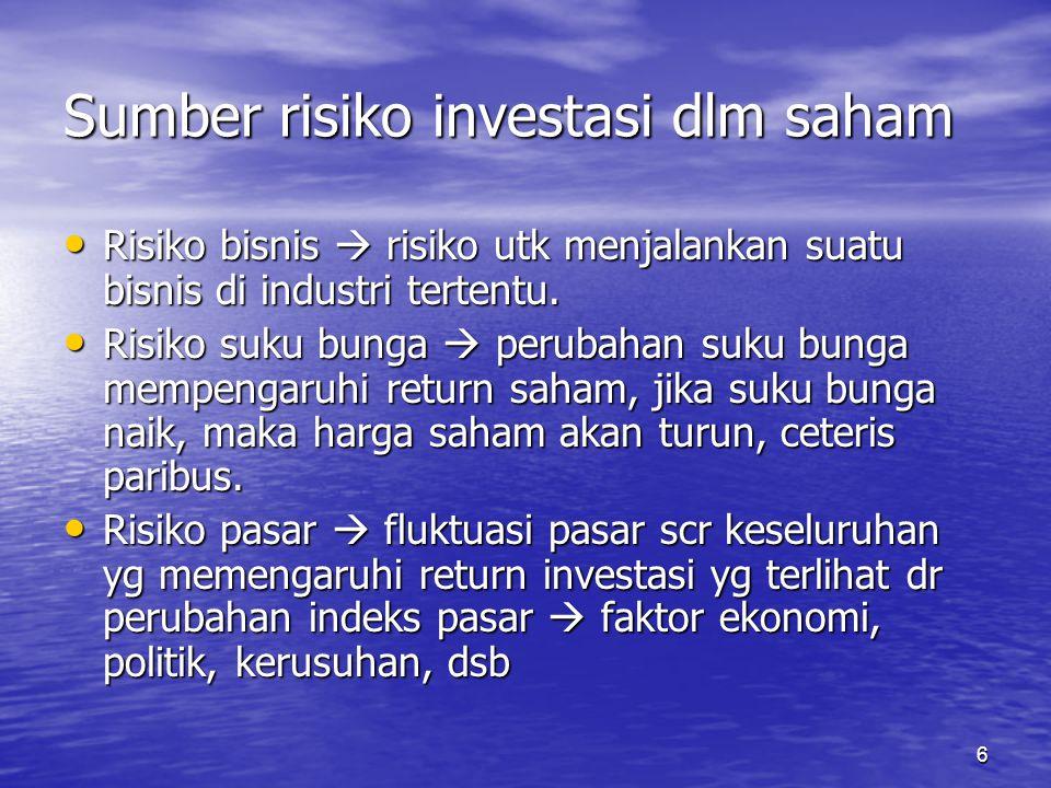 6 Sumber risiko investasi dlm saham Risiko bisnis  risiko utk menjalankan suatu bisnis di industri tertentu. Risiko bisnis  risiko utk menjalankan s