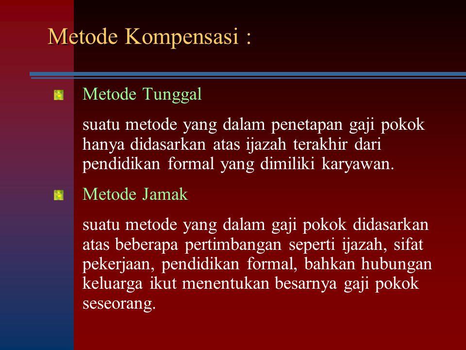 Metode Kompensasi : Metode Tunggal suatu metode yang dalam penetapan gaji pokok hanya didasarkan atas ijazah terakhir dari pendidikan formal yang dimi