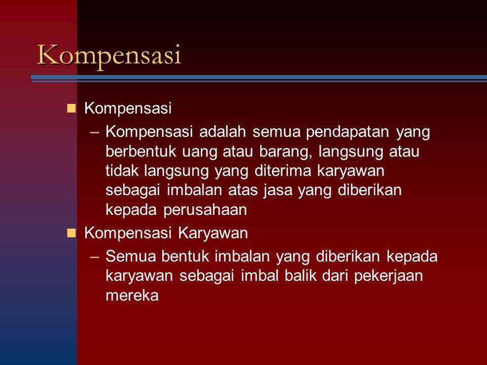 Kompensasi –Kompensasi adalah semua pendapatan yang berbentuk uang atau barang, langsung atau tidak langsung yang diterima karyawan sebagai imbalan at