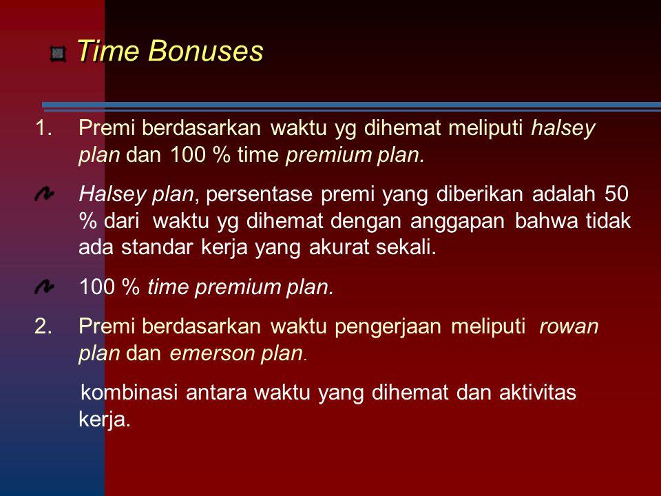 Time Bonuses 1.Premi berdasarkan waktu yg dihemat meliputi halsey plan dan 100 % time premium plan. Halsey plan, persentase premi yang diberikan adala
