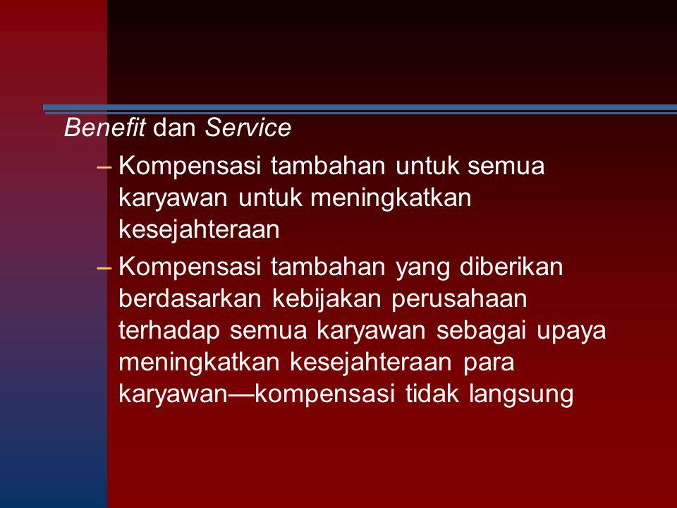 Benefit dan Service –Kompensasi tambahan untuk semua karyawan untuk meningkatkan kesejahteraan –Kompensasi tambahan yang diberikan berdasarkan kebijak