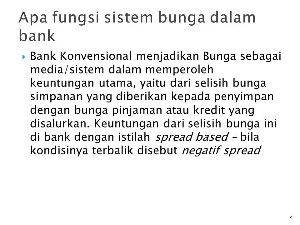 Bank Konvensional menjadikan Bunga sebagai media/sistem dalam memperoleh keuntungan utama, yaitu dari selisih bunga simpanan yang diberikan kepada penyimpan dengan bunga pinjaman atau kredit yang disalurkan.