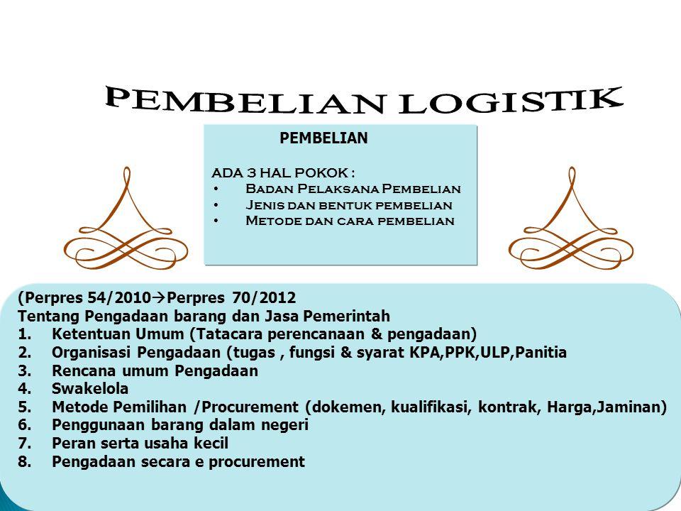 Man_Log127 PEMBELIAN ADA 3 HAL POKOK : Badan Pelaksana Pembelian Jenis dan bentuk pembelian Metode dan cara pembelian (Perpres 54/2010  Perpres 70/20