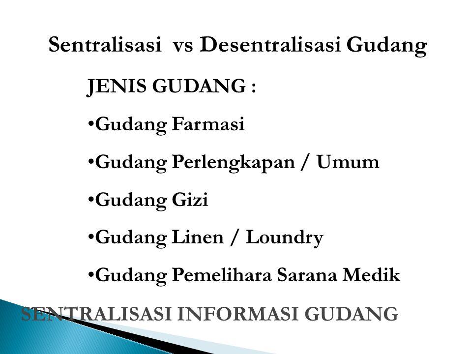 Sentralisasi vs Desentralisasi Gudang JENIS GUDANG : Gudang Farmasi Gudang Perlengkapan / Umum Gudang Gizi Gudang Linen / Loundry Gudang Pemelihara Sa