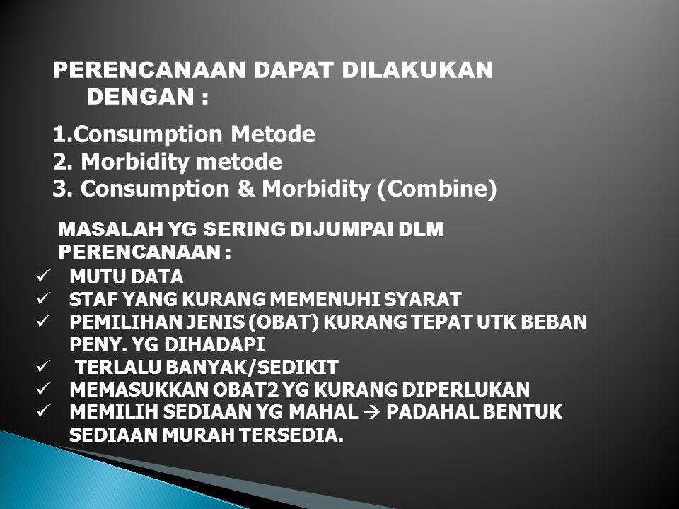 KELEMAHAN METODE KONSUMSI : 1.KEBIASAAN PENGOBATAN TDK RASIONAL SEOLAH-OLAH DITOLELIR 2.DATA TDK AKURAT KEUNTUNGAN METODE KONSUMSI : 1.MUDAH 2.TDK MEMERLUKAN DATA EPIDEMIOLOGI& STAND.