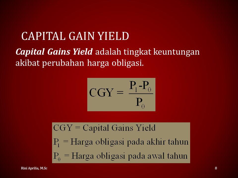 YIELD TO MATURITY Rini Aprilia, M.Sc9 Yield To Maturity (YTM) adalah suku bunga atau tingkat keuntungan yang dinikmati investor pada obligasi jika obligasi tersebut disimpan hingga tanggal jatuh tempo.