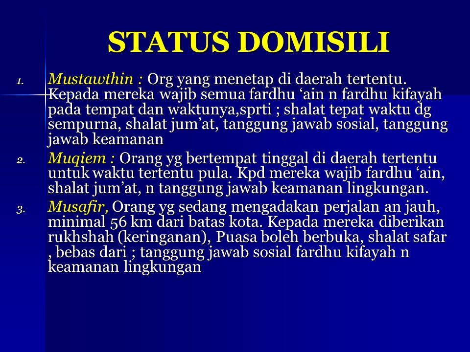 STATUS DOMISILI 1. Mustawthin : Org yang menetap di daerah tertentu. Kepada mereka wajib semua fardhu 'ain n fardhu kifayah pada tempat dan waktunya,s