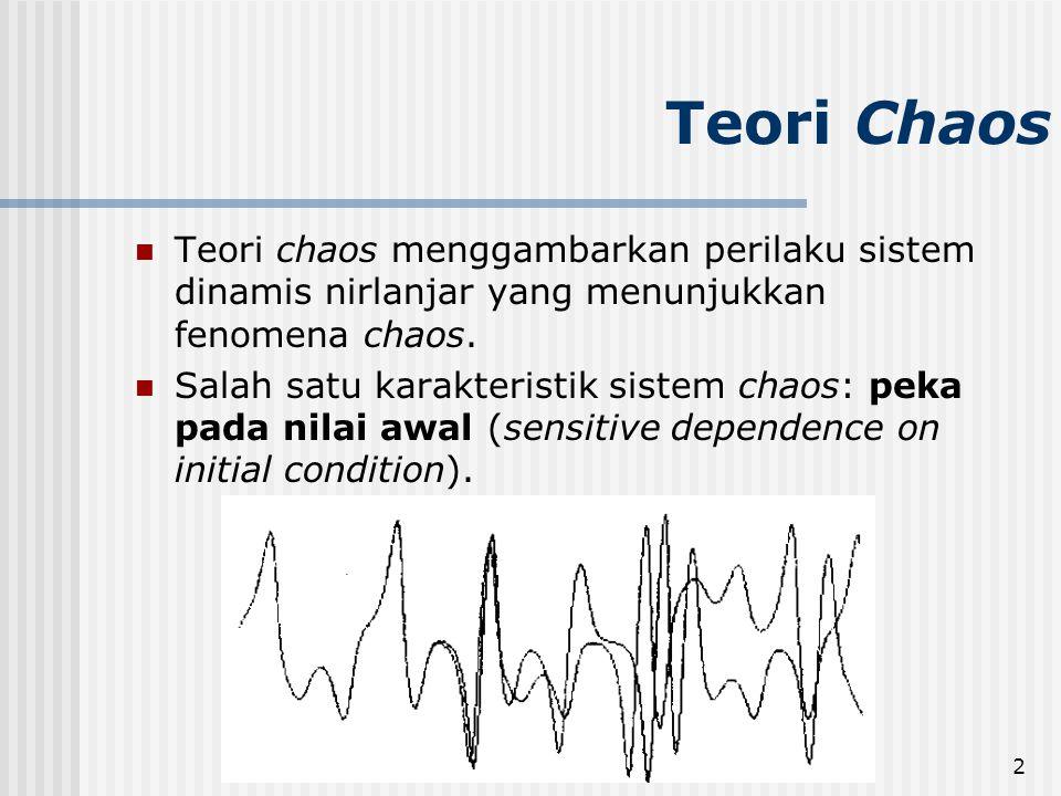 Rinaldi M/IF5054 Kriptografi2 Teori Chaos Teori chaos menggambarkan perilaku sistem dinamis nirlanjar yang menunjukkan fenomena chaos.