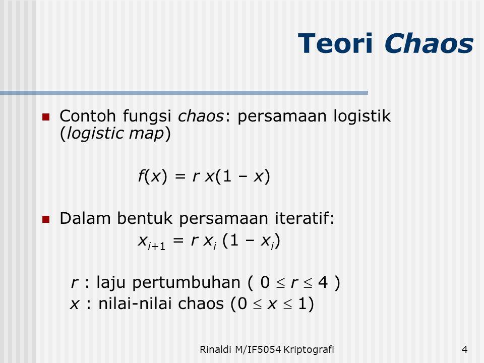 Rinaldi M/IF5054 Kriptografi4 Contoh fungsi chaos: persamaan logistik (logistic map) f(x) = r x(1 – x) Dalam bentuk persamaan iteratif: x i+1 = r x i (1 – x i ) r : laju pertumbuhan ( 0  r  4 ) x : nilai-nilai chaos (0  x  1) Teori Chaos