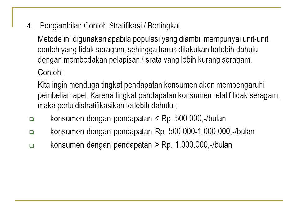 4. Pengambilan Contoh Stratifikasi / Bertingkat Metode ini digunakan apabila populasi yang diambil mempunyai unit-unit contoh yang tidak seragam, sehi