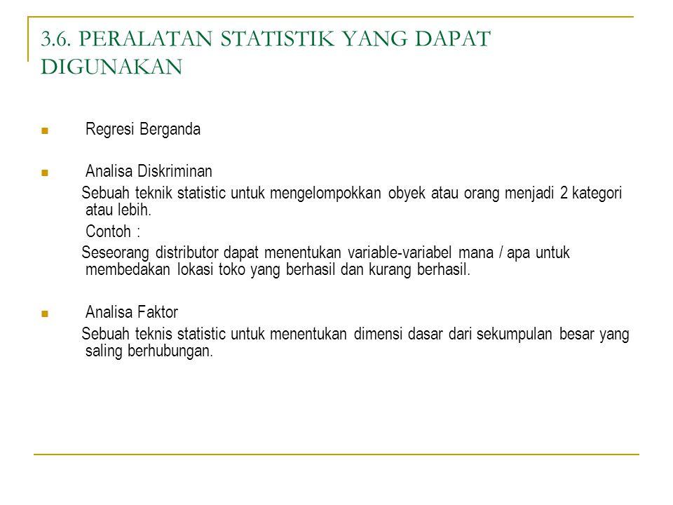 3.6. PERALATAN STATISTIK YANG DAPAT DIGUNAKAN Regresi Berganda Analisa Diskriminan Sebuah teknik statistic untuk mengelompokkan obyek atau orang menja