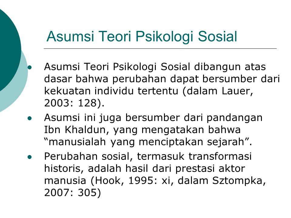 Asumsi Teori Psikologi Sosial Asumsi Teori Psikologi Sosial dibangun atas dasar bahwa perubahan dapat bersumber dari kekuatan individu tertentu (dalam