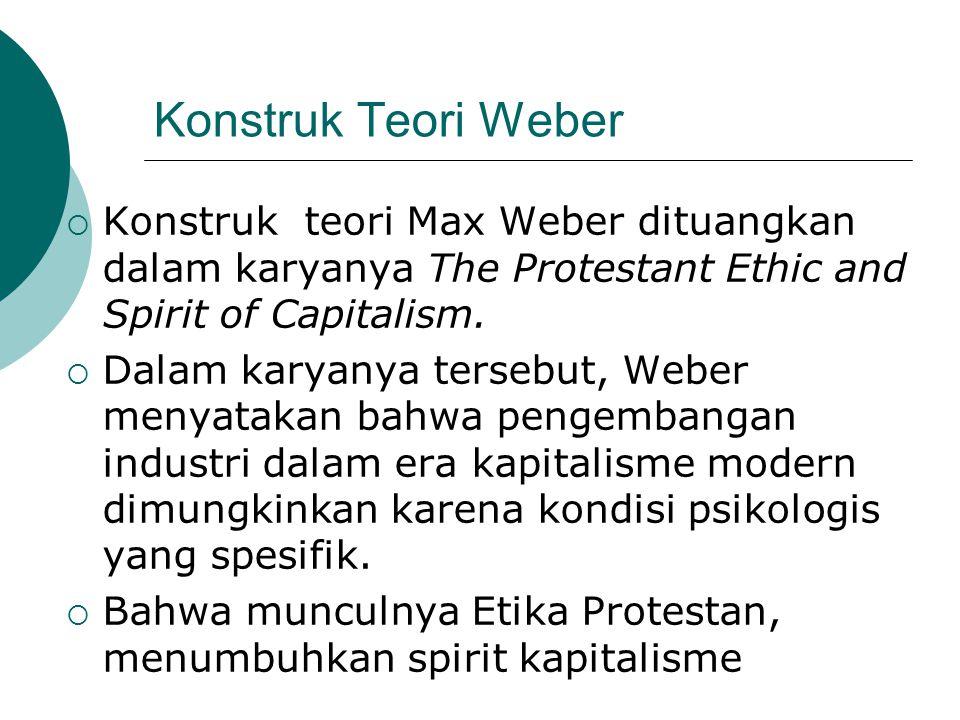 Konstruk Teori Weber  Konstruk teori Max Weber dituangkan dalam karyanya The Protestant Ethic and Spirit of Capitalism.  Dalam karyanya tersebut, We