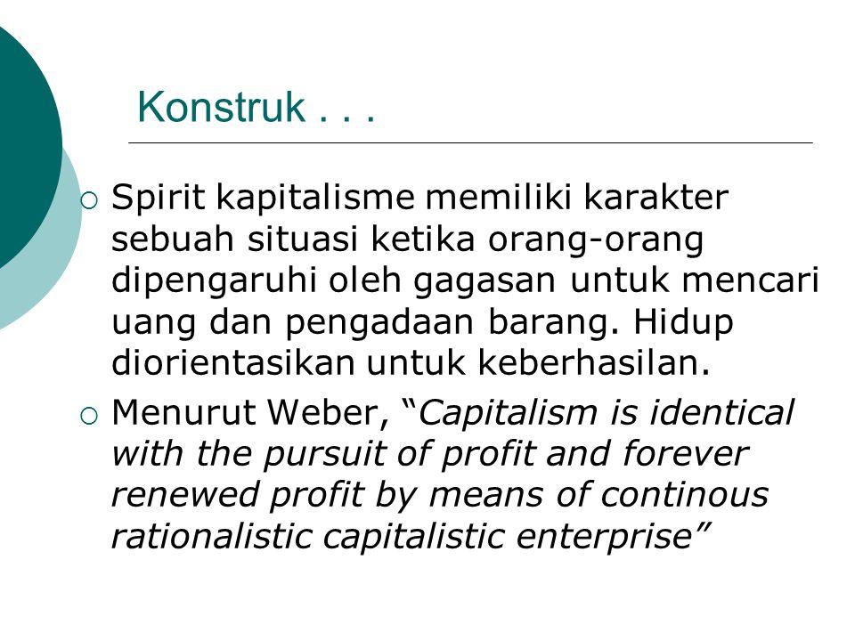 Konstruk...  Spirit kapitalisme memiliki karakter sebuah situasi ketika orang-orang dipengaruhi oleh gagasan untuk mencari uang dan pengadaan barang.