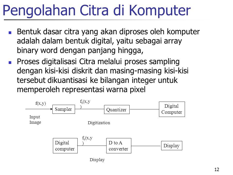 12 Pengolahan Citra di Komputer Bentuk dasar citra yang akan diproses oleh komputer adalah dalam bentuk digital, yaitu sebagai array binary word dengan panjang hingga, Proses digitalisasi Citra melalui proses sampling dengan kisi-kisi diskrit dan masing-masing kisi-kisi tersebut dikuantisasi ke bilangan integer untuk memperoleh representasi warna pixel Sampler Quantizer Digital Computer Input Image f(x,y) f s (x,y ) Digital computer D to A converter Display Digitization f s (x,y ) Display