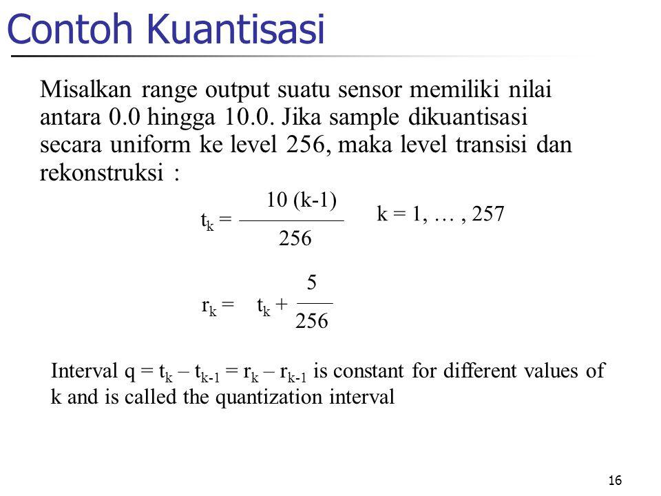 16 Contoh Kuantisasi Misalkan range output suatu sensor memiliki nilai antara 0.0 hingga 10.0. Jika sample dikuantisasi secara uniform ke level 256, m