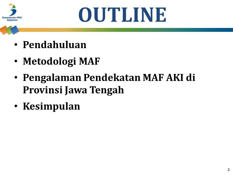 Pendahuluan 1.Capaian sasaran MDGs di Indonesia dibagi dalam tiga kategori, yaitu: a.Sudah tercapai sebelum tahun 2015 (already achieved) b.Diperkirakan akan dapat dicapai pada akhir tahun 2015 (on track) c.Diperkirakan akan sulit dicapai pada akhir tahun 2015 sehingga diperlukan kerja keras (off track) 3