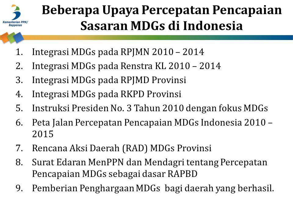 Beberapa Upaya Percepatan Pencapaian Sasaran MDGs di Indonesia 1.Integrasi MDGs pada RPJMN 2010 – 2014 2.Integrasi MDGs pada Renstra KL 2010 – 2014 3.