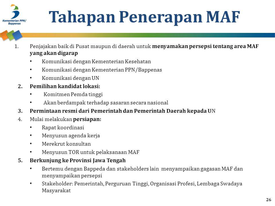 Tahapan Penerapan MAF 1.Penjajakan baik di Pusat maupun di daerah untuk menyamakan persepsi tentang area MAF yang akan digarap Komunikasi dengan Kemen