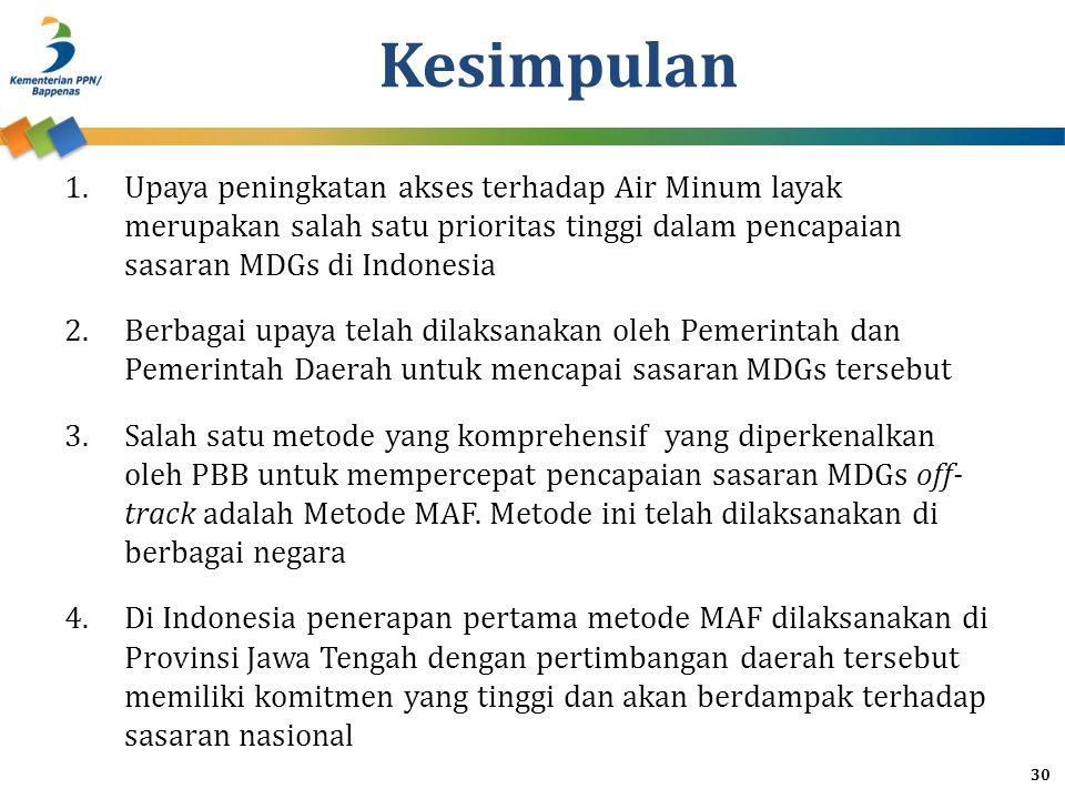 Kesimpulan 1.Upaya peningkatan akses terhadap Air Minum layak merupakan salah satu prioritas tinggi dalam pencapaian sasaran MDGs di Indonesia 2.Berba