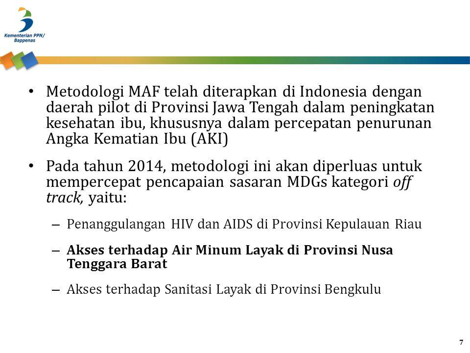 Metodologi MAF telah diterapkan di Indonesia dengan daerah pilot di Provinsi Jawa Tengah dalam peningkatan kesehatan ibu, khususnya dalam percepatan p