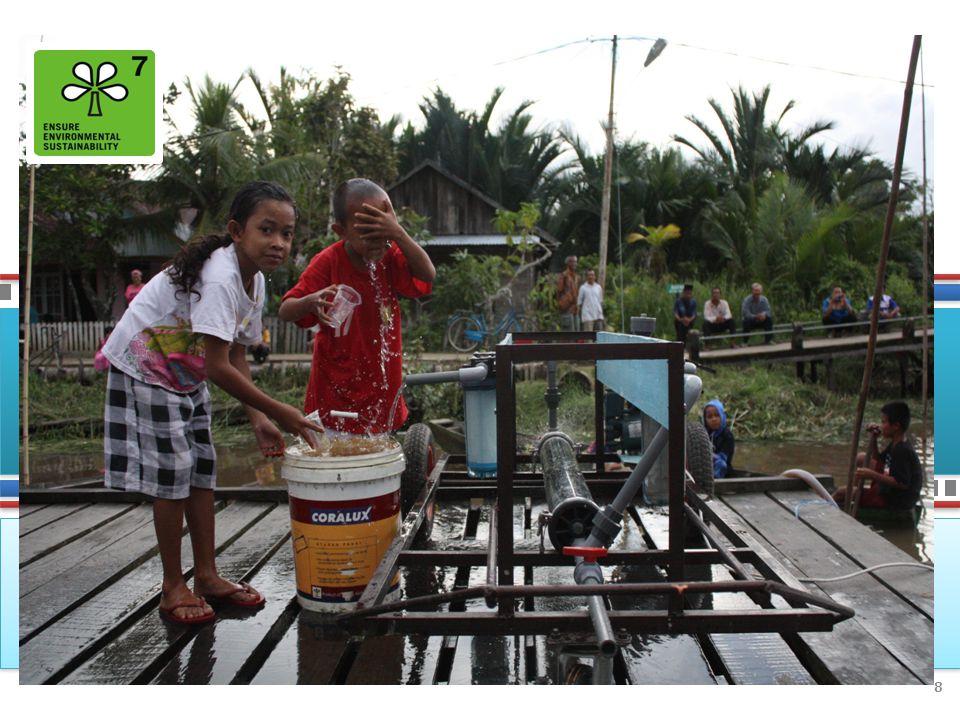 TUJUAN 7: MEMASTIKAN KELESTARIAN LINGKUNGAN HIDUP IndikatorAcuan Dasar Data Terb aru Target MDGs 2015 StatusSumber TUJUAN 7: MEMASTIKAN KELESTARIAN LINGKUNGAN HIDUP Target 7C: Menurunkan hingga setengahnya proporsi rumah tangga tanpa akses berkelanjutan terhadap air minum layak dan sanitasi layak hingga tahun 2015 7.8 Proporsi rumah tangga dengan akses berkelanjutan terhadap air minum layak, perkotaan dan perdesaan 37,73% (1993) 67,73% (2013) 68.87% ▼ BPS, Susenas 7.8aPerkotaan 50,58% (1993) 79,34% (2013) 75.29% ● 7.8bPerdesaan 31,61% (1993) 56,17% (2013) 65.81% ▼ 7.9 Proporsi rumah tangga dengan akses berkelanjutan terhadap sanitasi layak, perkotaan dan perdesaan 24,81% (1993) 60,91% (2013) 62.41% ▼ 7.9aPerkotaan 53,64% (1993) 73.15% (2012) 76.82% ► 7.9bPerdesaan 11,10% (1993) 42.73% (2012) 55.55% ▼ Status : ● Sudah Tercapai ► Akan Tercapai ▼ Perlu Perhatian Khusus 9