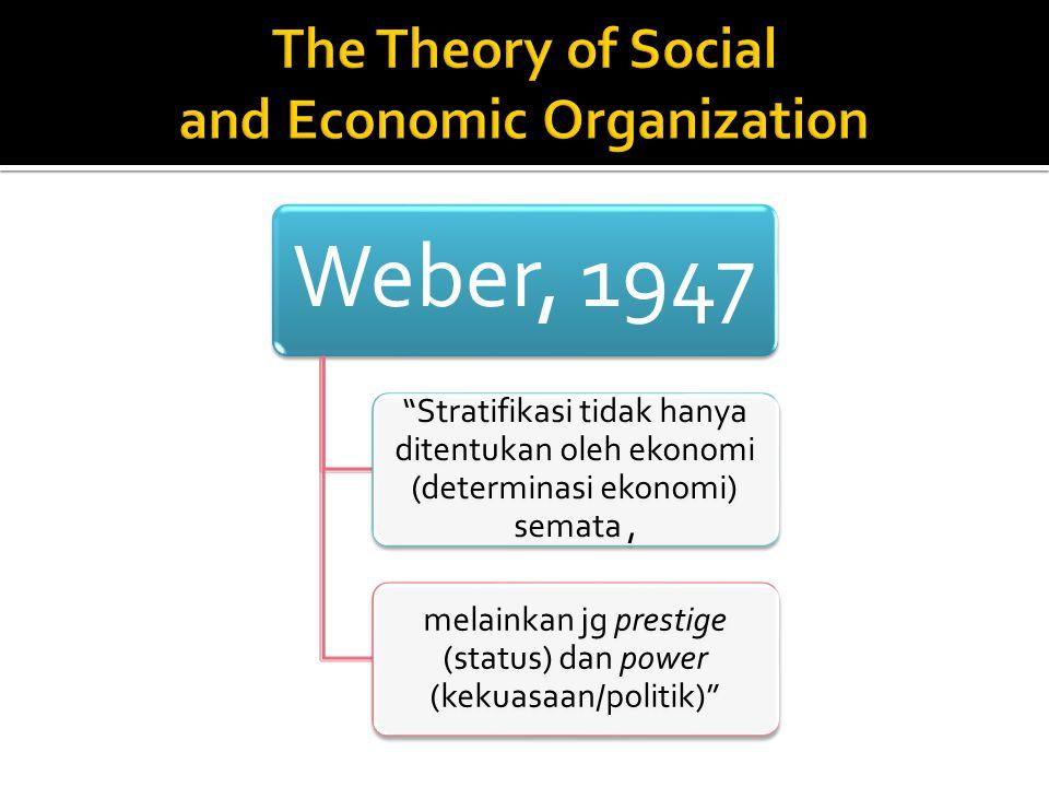 """Weber, 1947 """"Stratifikasi tidak hanya ditentukan oleh ekonomi (determinasi ekonomi) semata, melainkan jg prestige (status) dan power (kekuasaan/politi"""