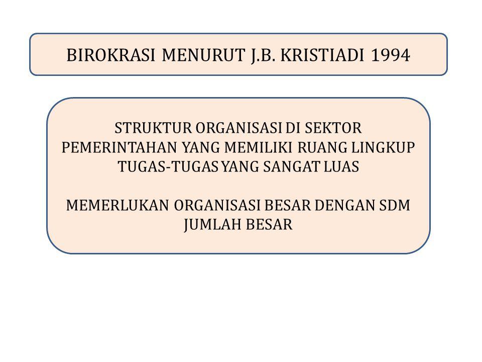 BIROKRASI MENURUT J.B. KRISTIADI 1994 STRUKTUR ORGANISASI DI SEKTOR PEMERINTAHAN YANG MEMILIKI RUANG LINGKUP TUGAS-TUGAS YANG SANGAT LUAS MEMERLUKAN O