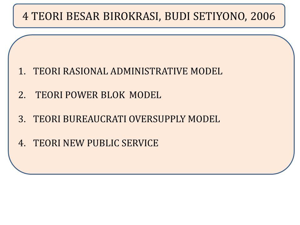 4 TEORI BESAR BIROKRASI, BUDI SETIYONO, 2006 1.TEORI RASIONAL ADMINISTRATIVE MODEL 2. TEORI POWER BLOK MODEL 3.TEORI BUREAUCRATI OVERSUPPLY MODEL 4.TE
