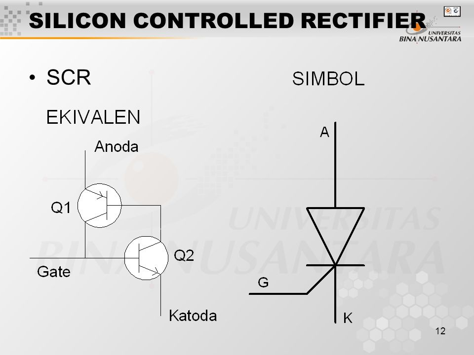 12 SILICON CONTROLLED RECTIFIER SCR