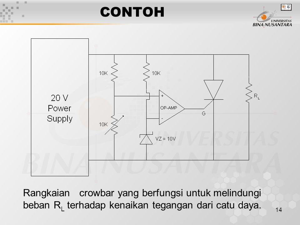14 CONTOH Rangkaian crowbar yang berfungsi untuk melindungi beban R L terhadap kenaikan tegangan dari catu daya.