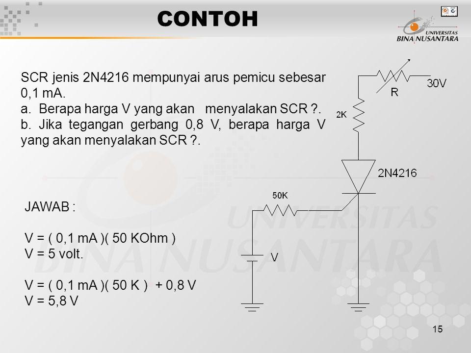 15 CONTOH SCR jenis 2N4216 mempunyai arus pemicu sebesar 0,1 mA. a. Berapa harga V yang akan menyalakan SCR ?. b. Jika tegangan gerbang 0,8 V, berapa