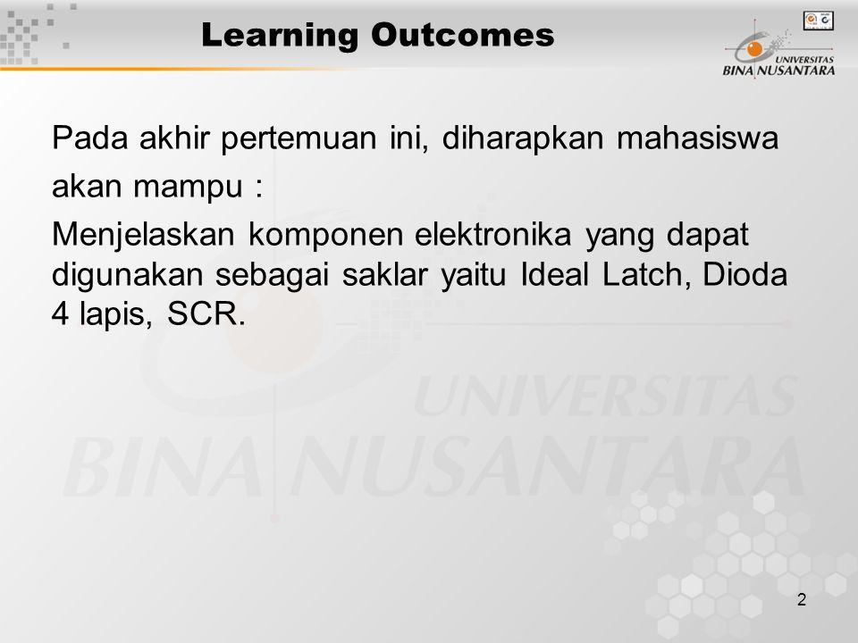 2 Learning Outcomes Pada akhir pertemuan ini, diharapkan mahasiswa akan mampu : Menjelaskan komponen elektronika yang dapat digunakan sebagai saklar y