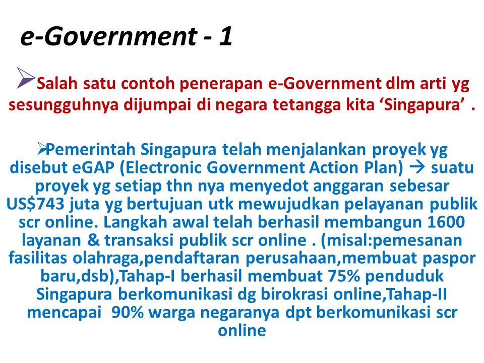 e-Government - 1  Salah satu contoh penerapan e-Government dlm arti yg sesungguhnya dijumpai di negara tetangga kita 'Singapura'.  Pemerintah Singap