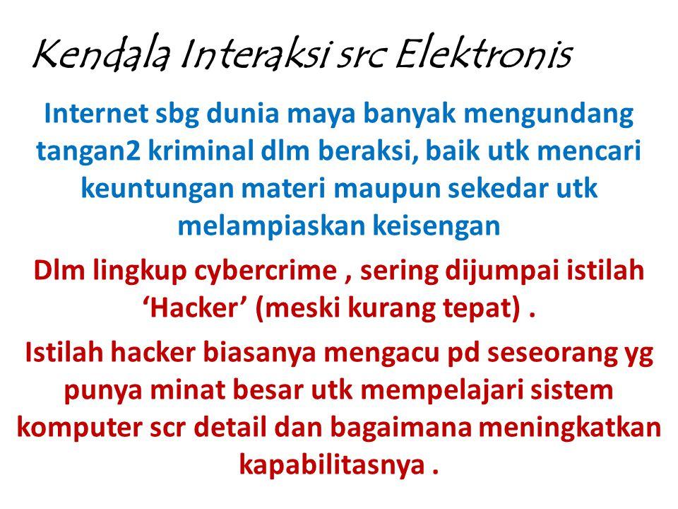 Kendala Interaksi src Elektronis Internet sbg dunia maya banyak mengundang tangan2 kriminal dlm beraksi, baik utk mencari keuntungan materi maupun sek