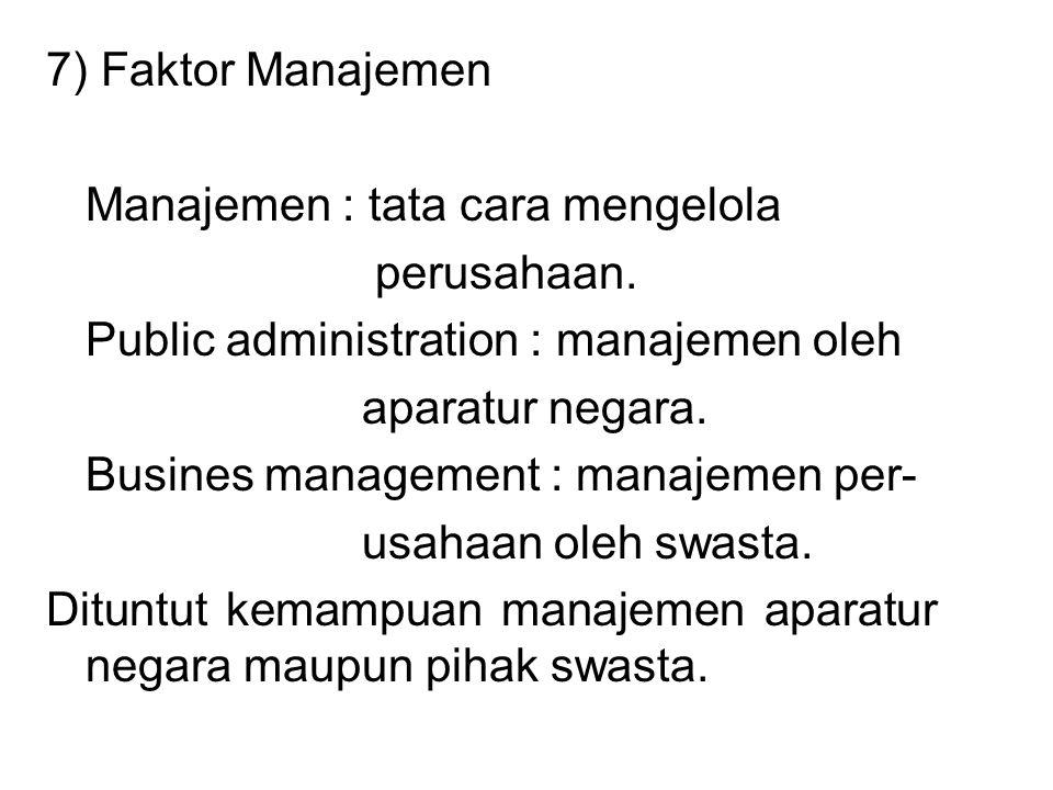 7) Faktor Manajemen Manajemen : tata cara mengelola perusahaan. Public administration : manajemen oleh aparatur negara. Busines management : manajemen