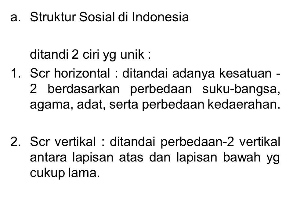 a.Struktur Sosial di Indonesia ditandi 2 ciri yg unik : 1.Scr horizontal : ditandai adanya kesatuan - 2 berdasarkan perbedaan suku-bangsa, agama, adat