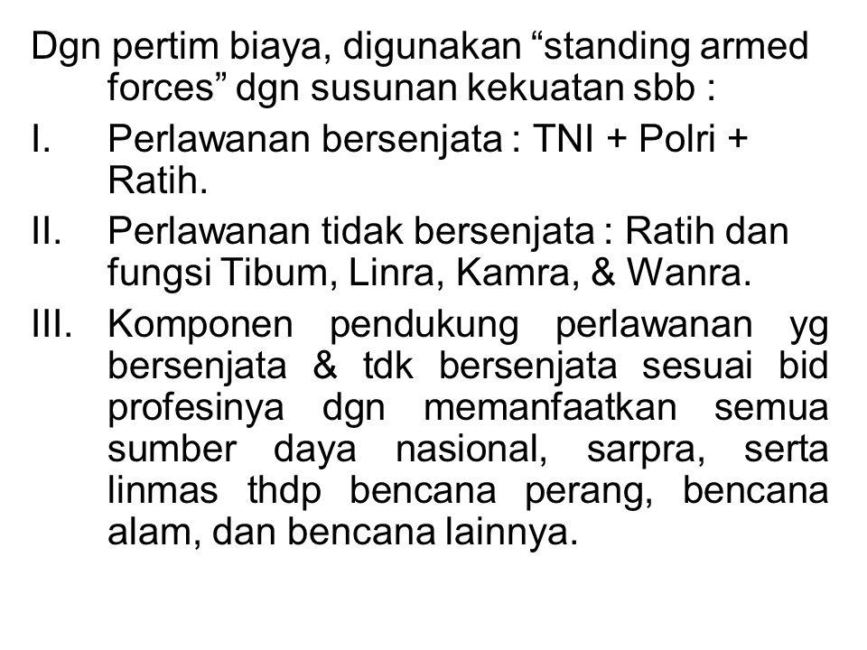 Dgn pertim biaya, digunakan standing armed forces dgn susunan kekuatan sbb : I.Perlawanan bersenjata : TNI + Polri + Ratih.