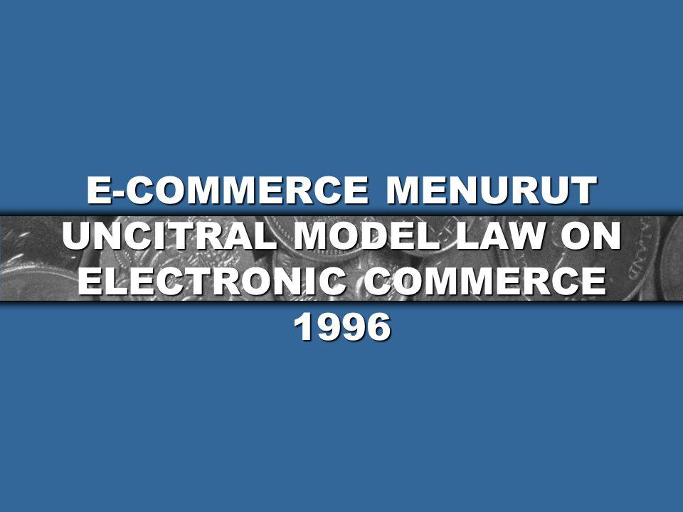 TRANSAKSI MELALUI E-COMMERCE MEMILIKI BEBERAPA CIRI BERIKUT : 1.Transaksi secara e-commerce memungkinkan para pihak memasuki pasar global secara cepat tanpa dirintangi o/ batas-2 negara 2.Transaksi e-commerce memungkinkan para pihak berhubungan tanpa mengenal satu sama lainnya; 3.Transaksi melalui e-commerce sangat bergantung pada sarana (teknologi) yg keandalannya kurang dijamin.