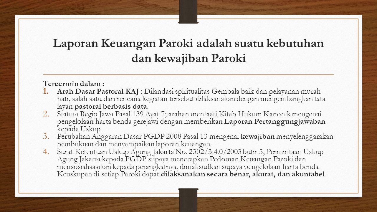 Laporan Keuangan Paroki adalah suatu kebutuhan dan kewajiban Paroki Tercermin dalam : 1. Arah Dasar Pastoral KAJ : Dilandasi spiritualitas Gembala bai