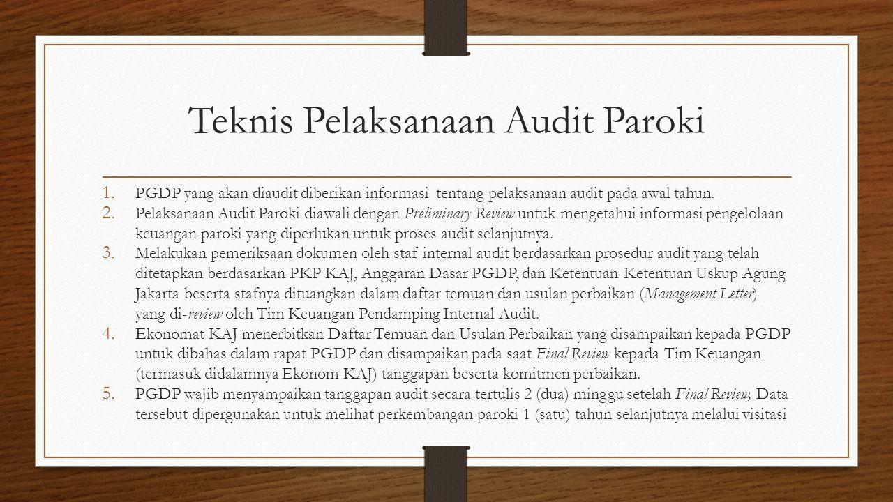 Teknis Pelaksanaan Audit Paroki 1. PGDP yang akan diaudit diberikan informasi tentang pelaksanaan audit pada awal tahun. 2. Pelaksanaan Audit Paroki d