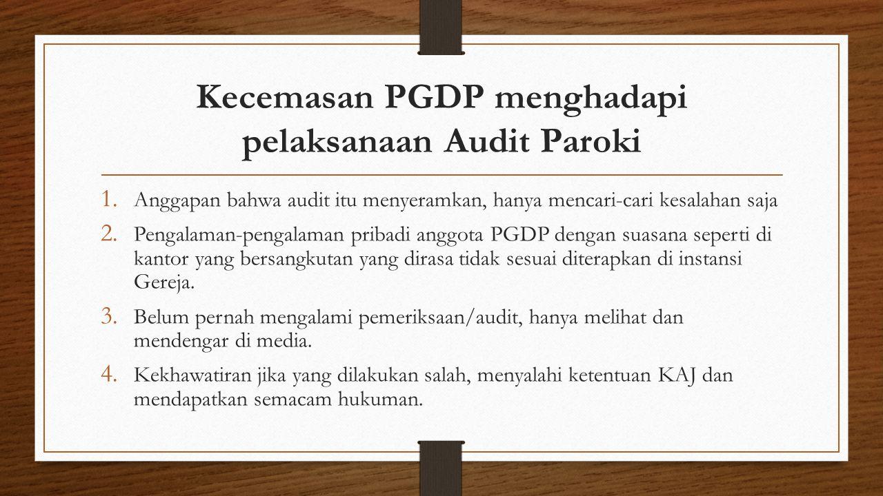 Kecemasan PGDP menghadapi pelaksanaan Audit Paroki 1. Anggapan bahwa audit itu menyeramkan, hanya mencari-cari kesalahan saja 2. Pengalaman-pengalaman