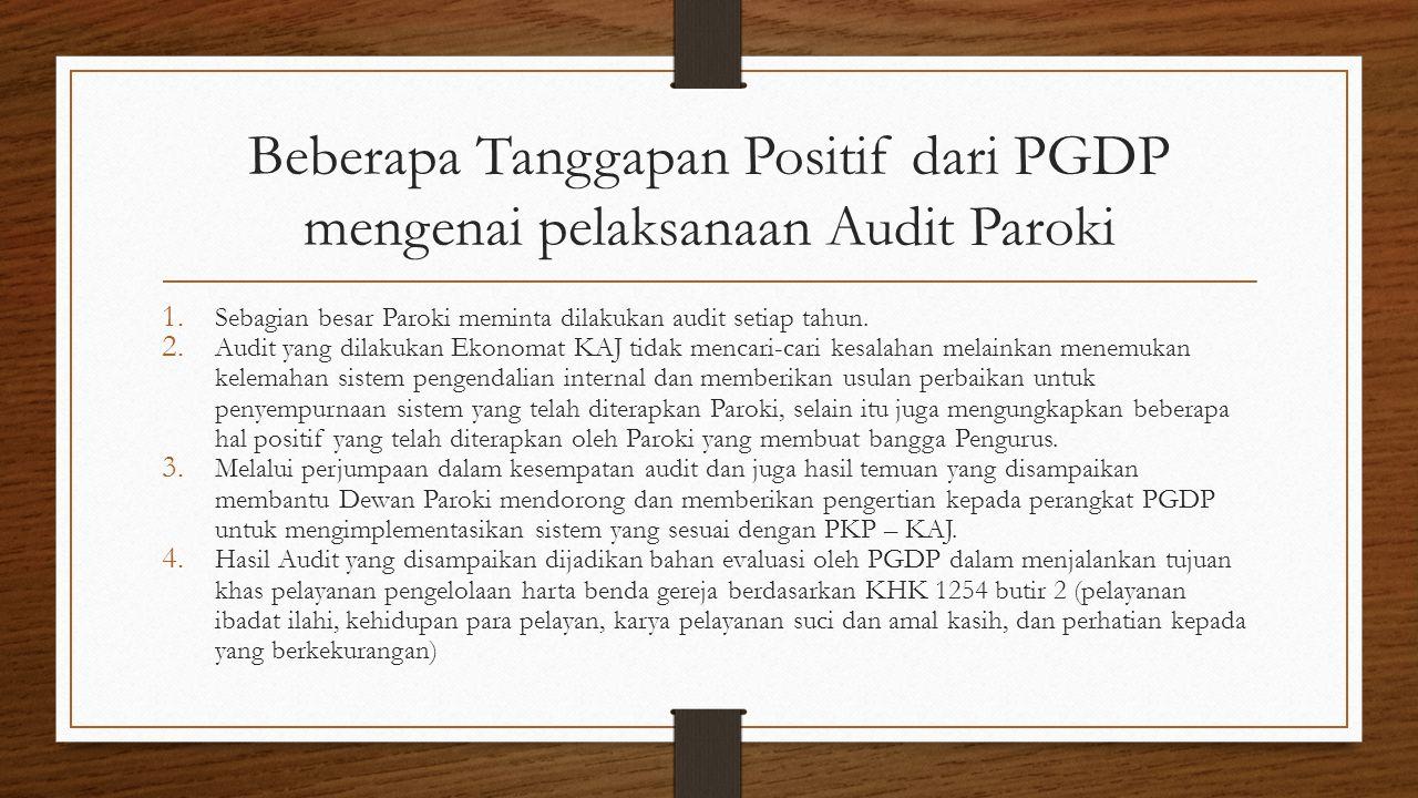Beberapa Tanggapan Positif dari PGDP mengenai pelaksanaan Audit Paroki 1. Sebagian besar Paroki meminta dilakukan audit setiap tahun. 2. Audit yang di