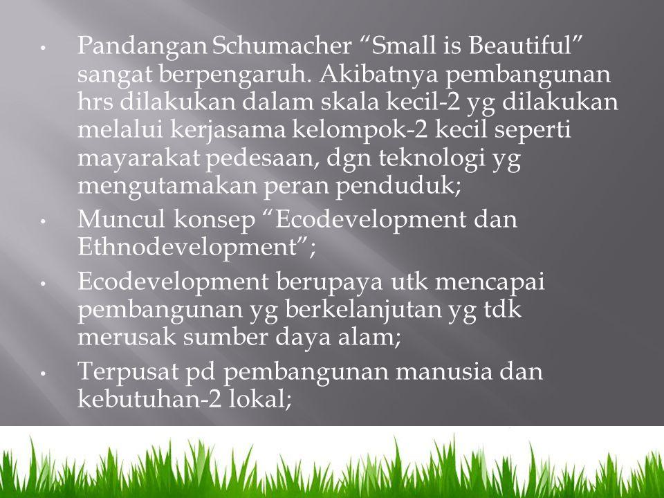 "Pandangan Schumacher ""Small is Beautiful"" sangat berpengaruh. Akibatnya pembangunan hrs dilakukan dalam skala kecil-2 yg dilakukan melalui kerjasama k"