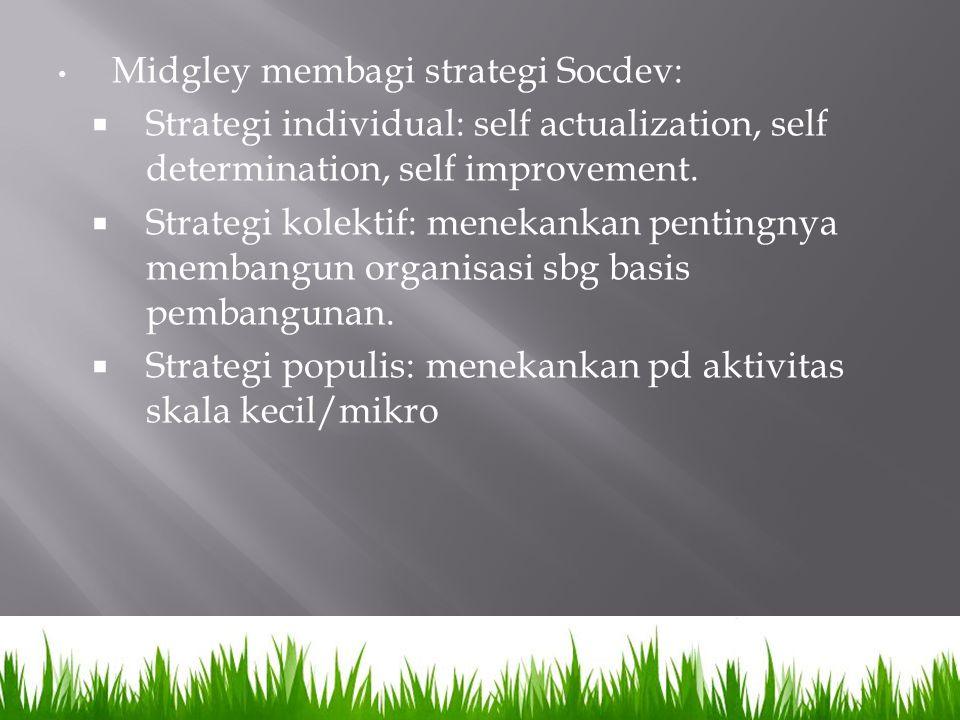 Midgley membagi strategi Socdev:  Strategi individual: self actualization, self determination, self improvement.  Strategi kolektif: menekankan pent