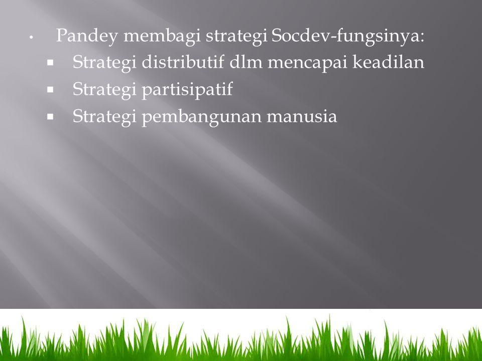 Pandey membagi strategi Socdev-fungsinya:  Strategi distributif dlm mencapai keadilan  Strategi partisipatif  Strategi pembangunan manusia